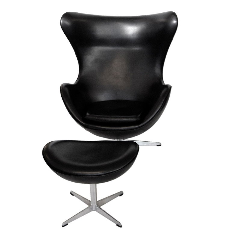 Fantastic Egg Chair W Ottoman In Black Leather By Arne