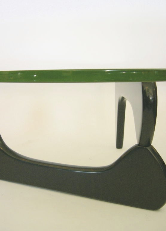 Vintage Noguchi Coffee Table In Black W Original Green Glass At 1stdibs
