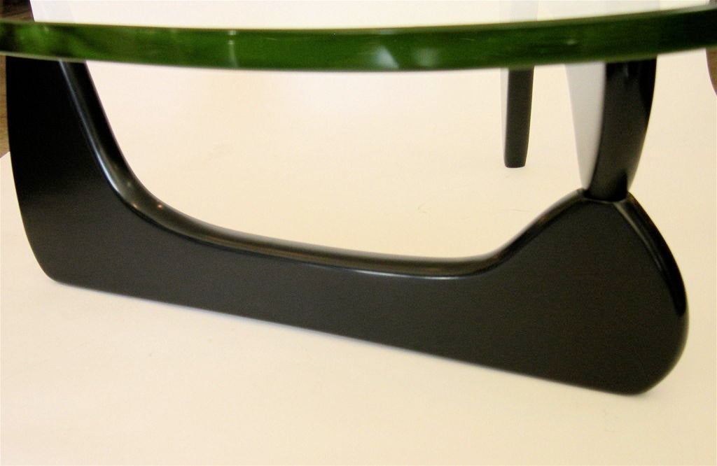 Vintage Noguchi Coffee Table In Black W Original Green Glass At 1stdibs