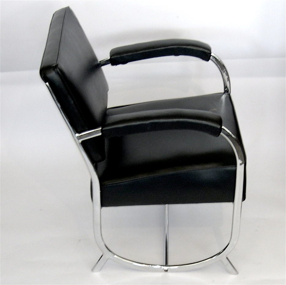 Rare Streamline Art Deco Chrome Chair And Ottoman In Black