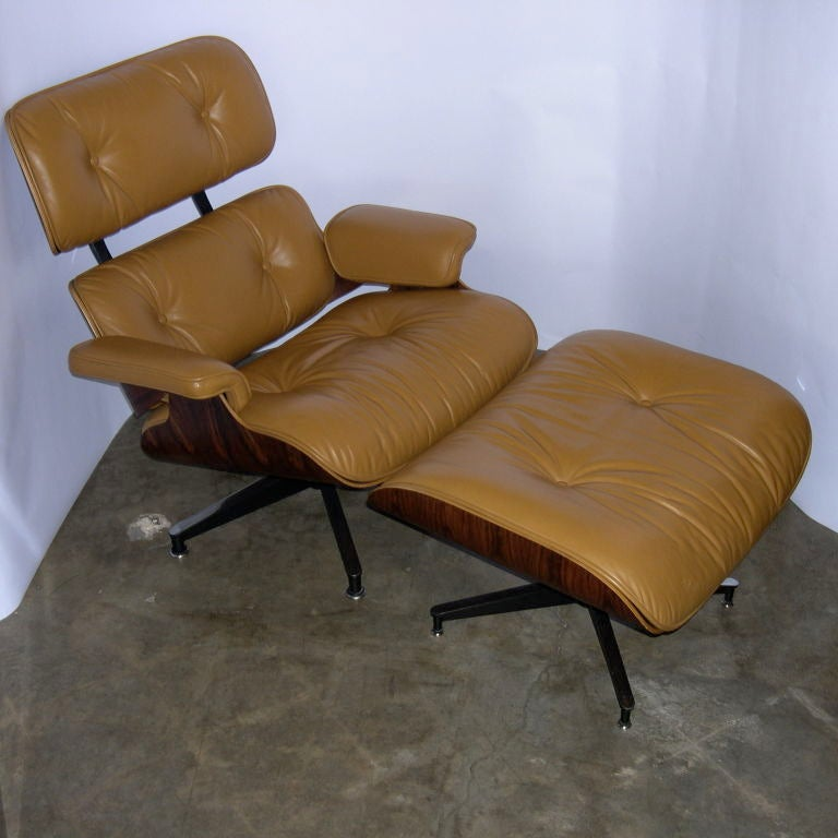 Rare Original Eames 670 And 671 In Rosewood And Camel