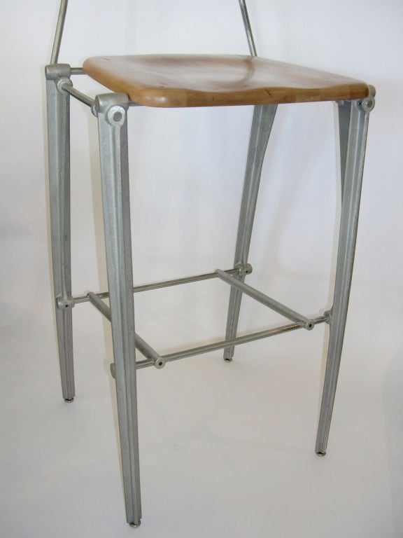 Pair Of Cast Aluminum Bar Stools By Bob Josten At 1stdibs