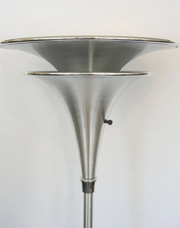 streamline art deco two tiered aluminum torchiere floor lamp at 1stdibs. Black Bedroom Furniture Sets. Home Design Ideas