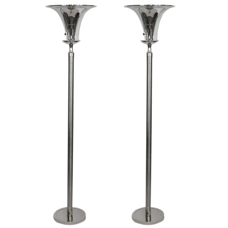 pair of elegant art deco torchiere lamps with lucite wings for sale at. Black Bedroom Furniture Sets. Home Design Ideas