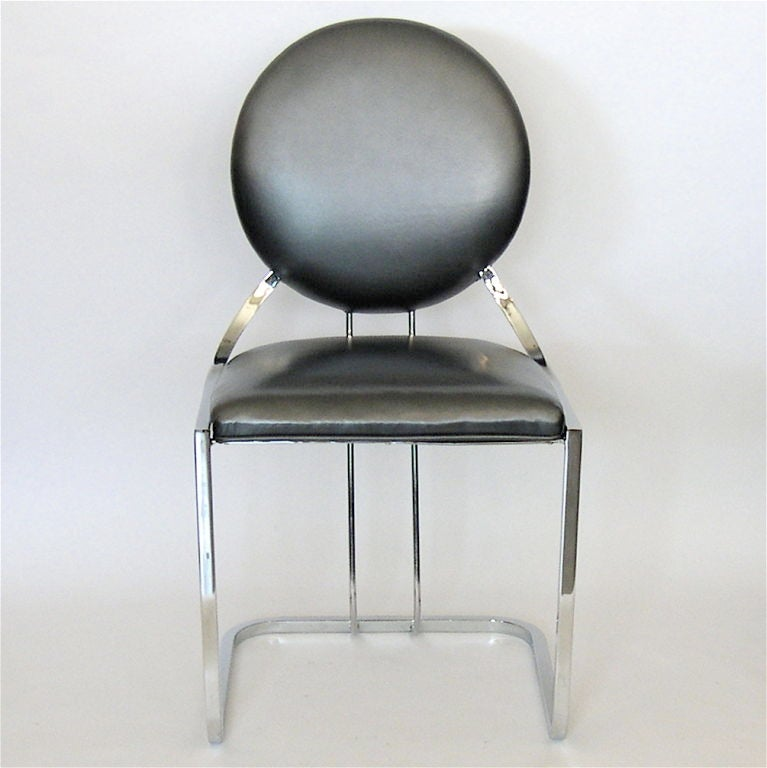 early gilbert rohde armless desk chair in pewter leather at 1stdibs