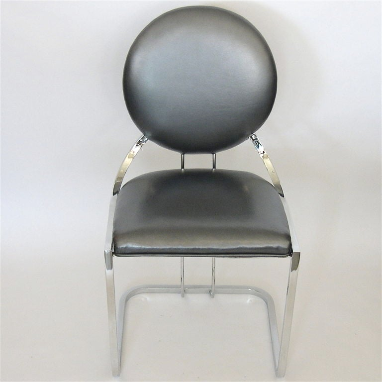 Rare Early Gilbert Rohde Armless Desk Chair In Pewter Leather At 1stdibs