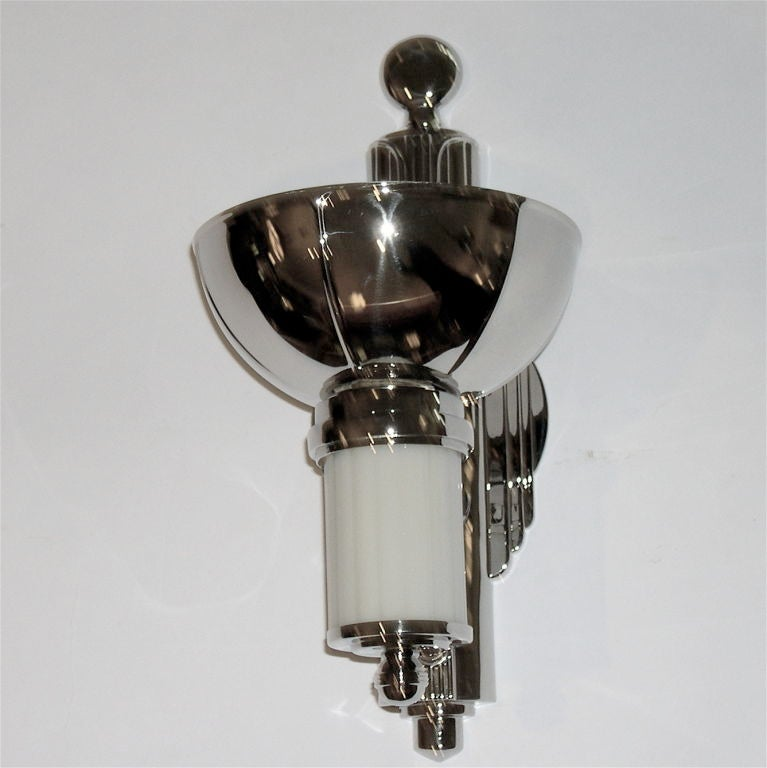 Art Deco Glass Wall Sconces : Pair of Art Deco Wall Sconces w/ White Glass Inserts For Sale at 1stdibs