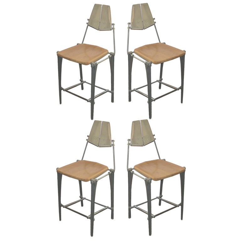 4 Cast Aluminum Counter Height Stools By Bob Josten At 1stdibs