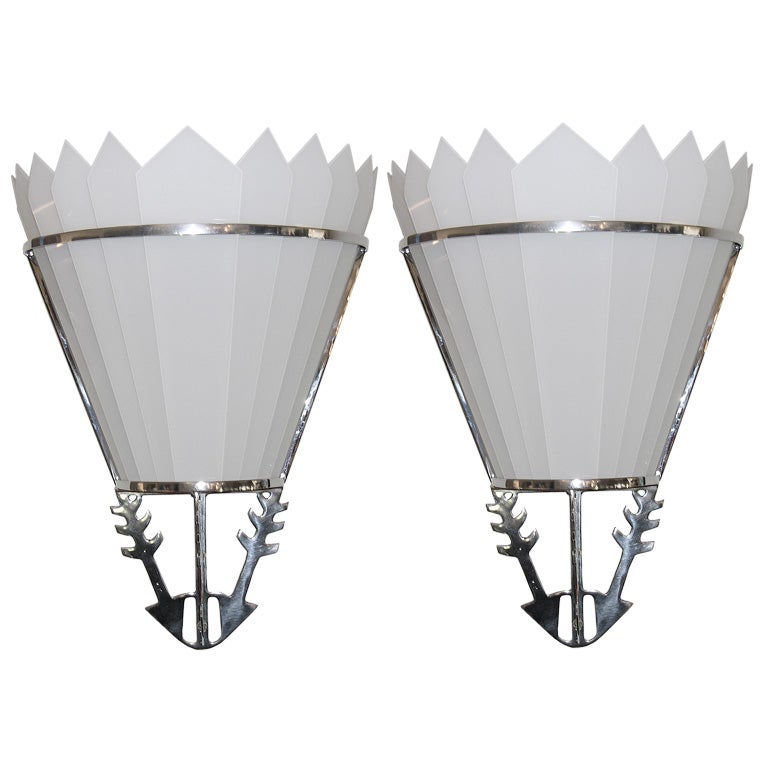 Large Art Deco Wall Sconces : Pair of Large and Impressive Art Deco Theater Wall Sconces For Sale at 1stdibs
