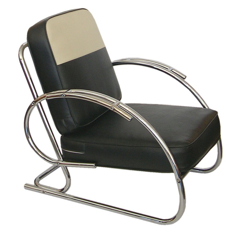 Streamline moderne art deco tubular chrome chair at 1stdibs for Deco moderne