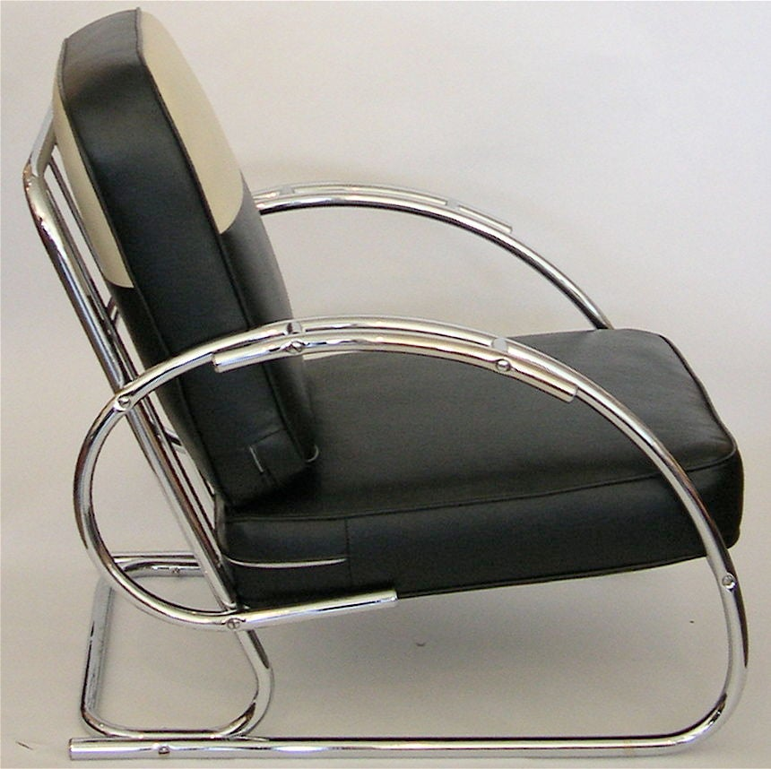 Streamline Moderne Art Deco Tubular Chrome Chair At 1stdibs
