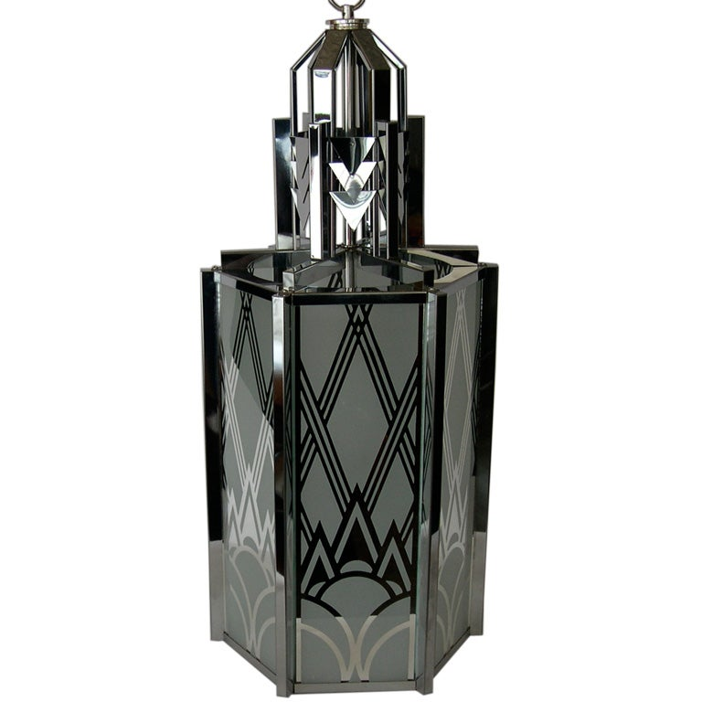 Great Art Deco Revival Pendant Light 3 Available