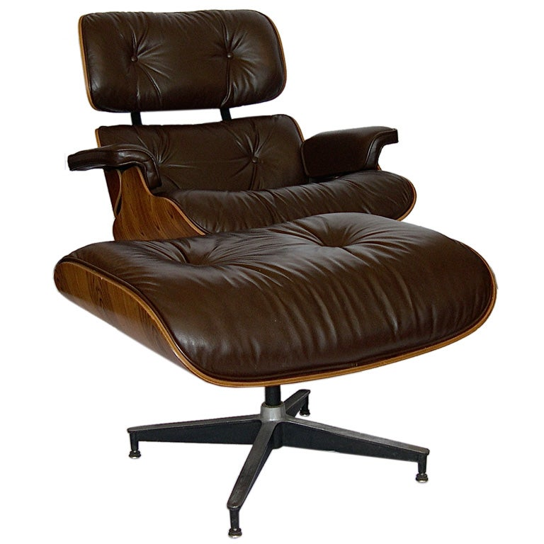 eames original rosewood 670 lounge chair and 671 ottoman chocolate at 1stdibs. Black Bedroom Furniture Sets. Home Design Ideas