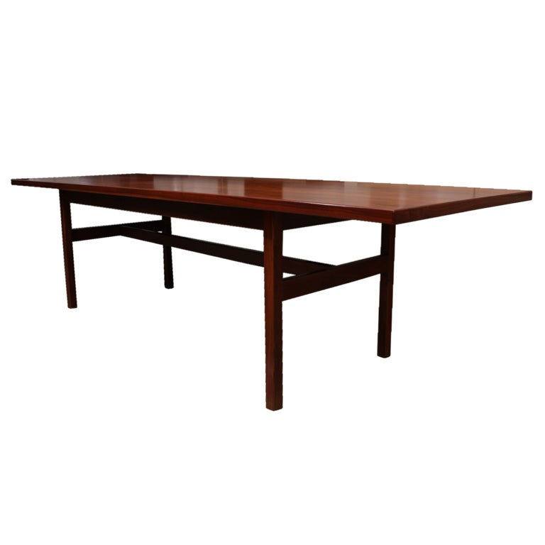 Jens Risom extra long walnut dining table