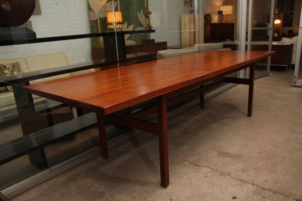 Jens Risom extra long walnut dining table 2
