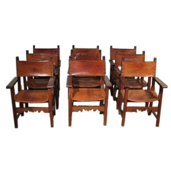 a set of 8 spanish colonial leather dining chairs at 1stdibs