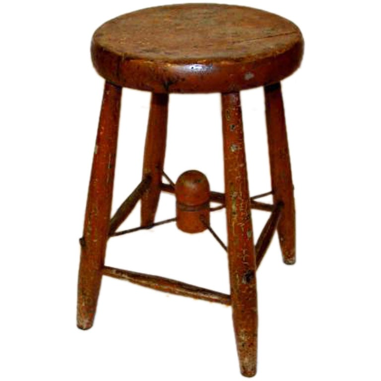 Folky Rustic Stool At 1stdibs