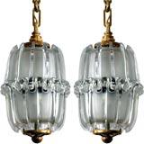 Pair of small Murano hanging glass globes