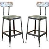 Pair of adjustable industrial bar stools