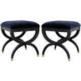 Pair of chic black lacquer and velvet stools