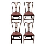 Set of 4 large English aged leather dining chairs