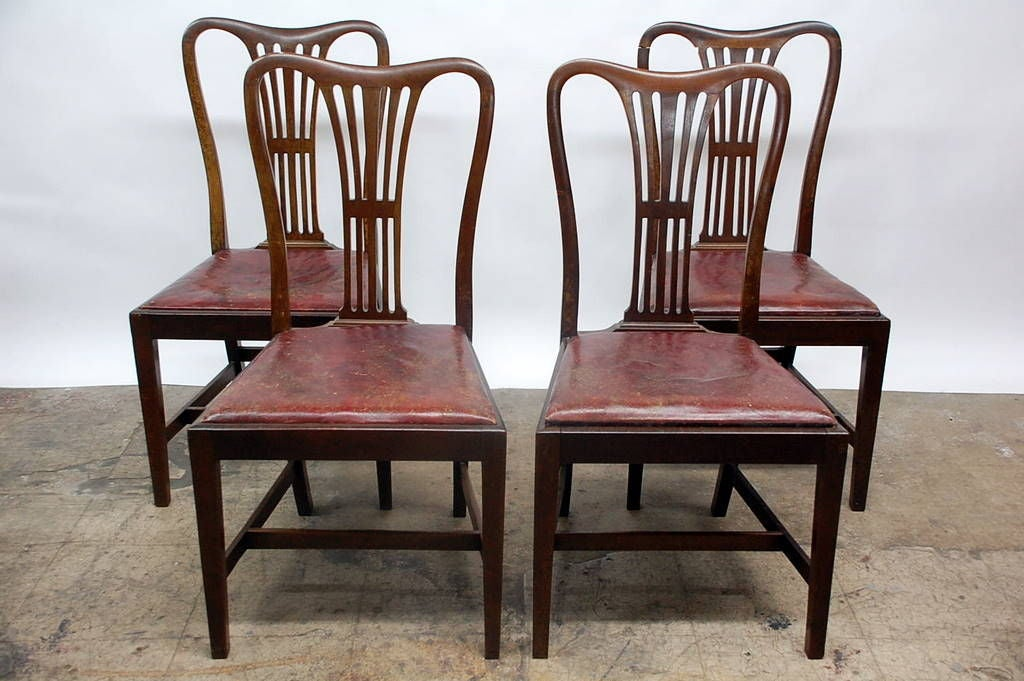 set of 4 large english aged leather dining chairs at 1stdibs