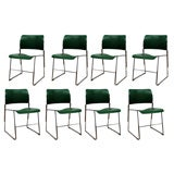 Set of Eight Original Deep Green 40/4 Stacking Chairs by David Rowland