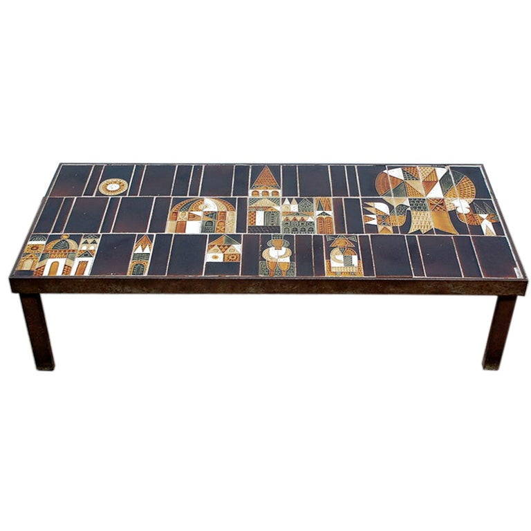 """Glass Coffee Tables At Furniture Village: Signed """"Village"""" Ceramic Coffee Table By Roger Capron At"""
