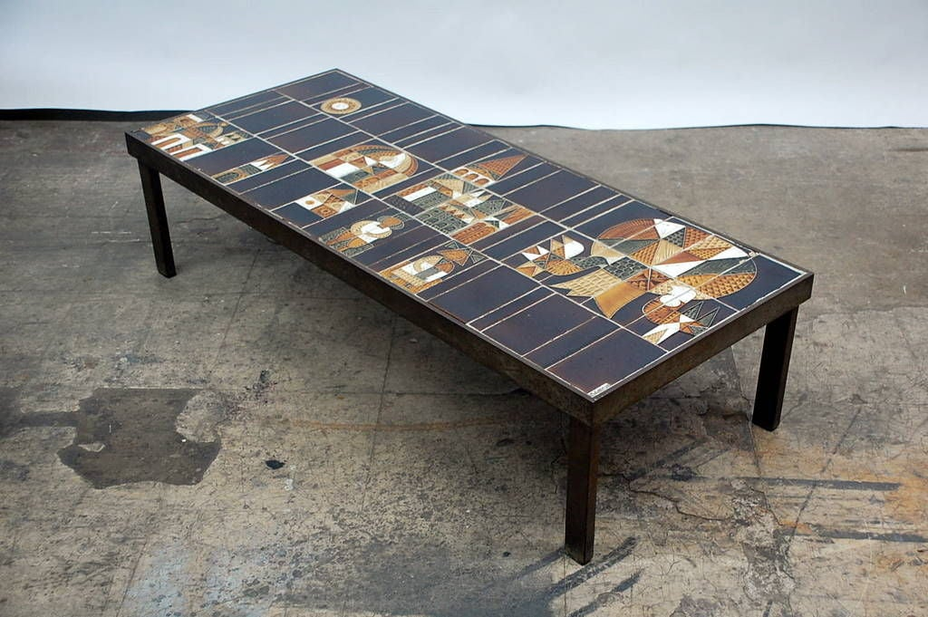 Signed village ceramic coffee table by roger capron at for Furniture village coffee tables