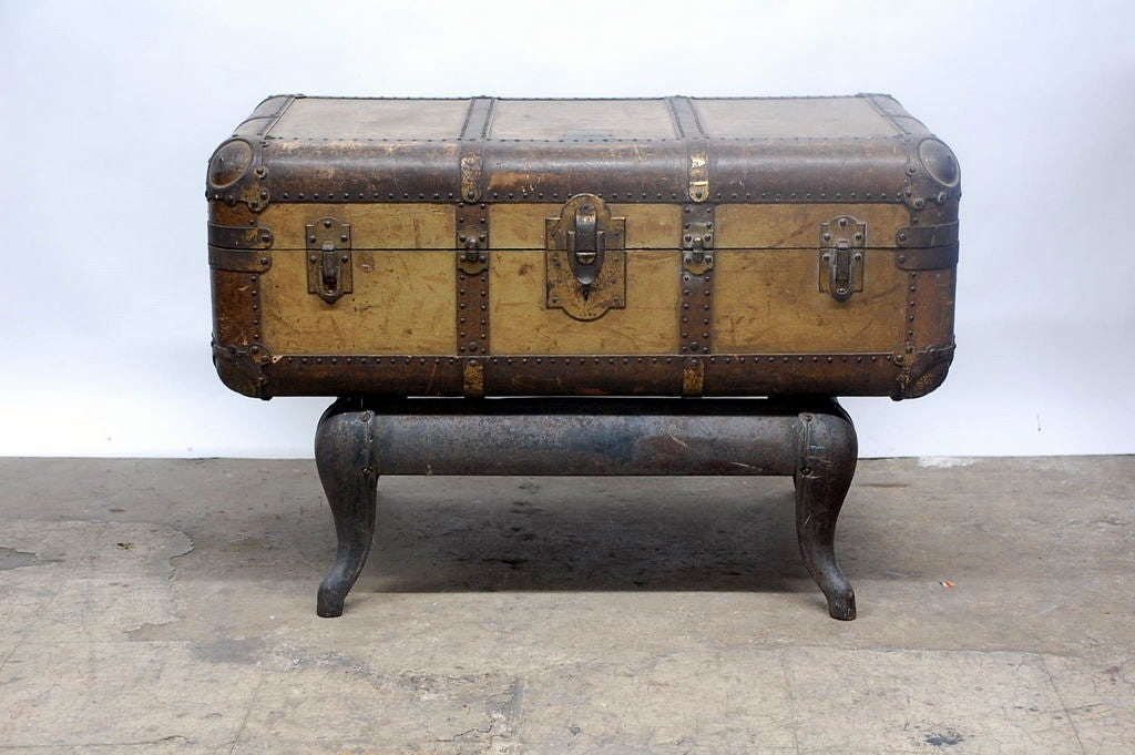 Vintage Indestructo Trunk on Industrial Stand 2