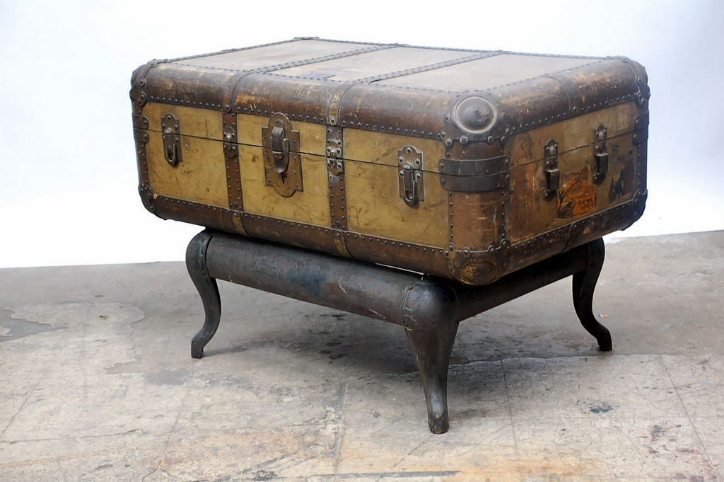 Vintage Indestructo Trunk on Industrial Stand 3