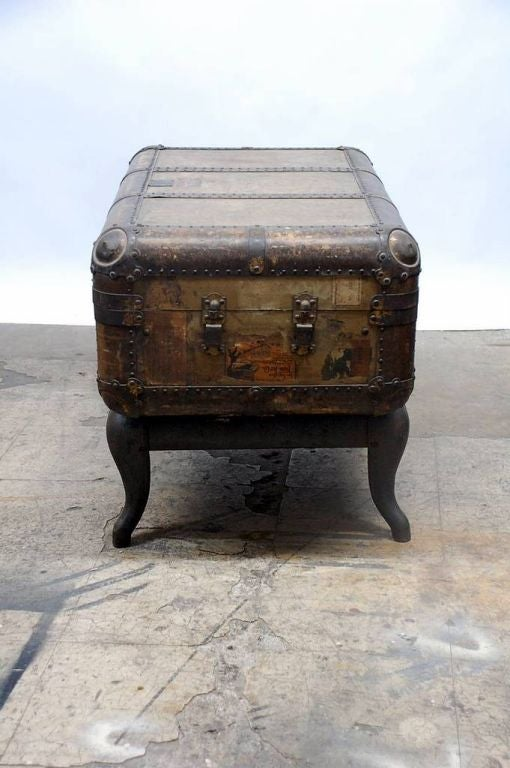 Vintage Indestructo Trunk on Industrial Stand 4