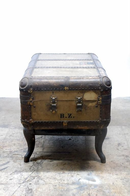 Vintage Indestructo Trunk on Industrial Stand 5