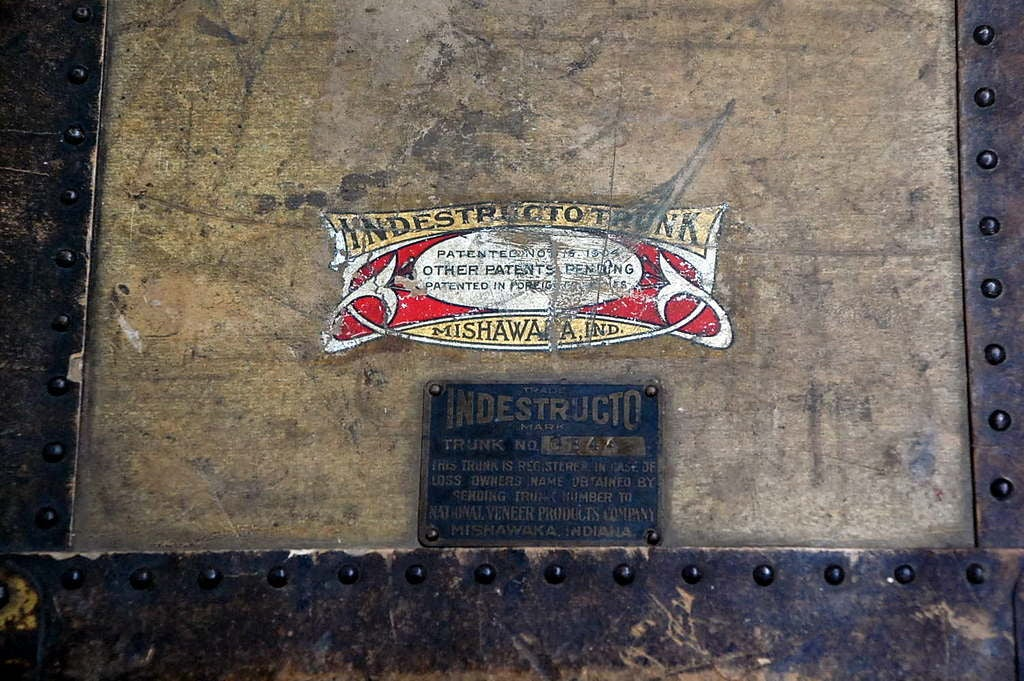 Vintage Indestructo Trunk on Industrial Stand 6