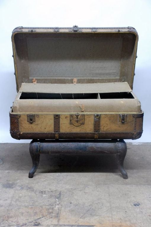 Vintage Indestructo Trunk on Industrial Stand 7