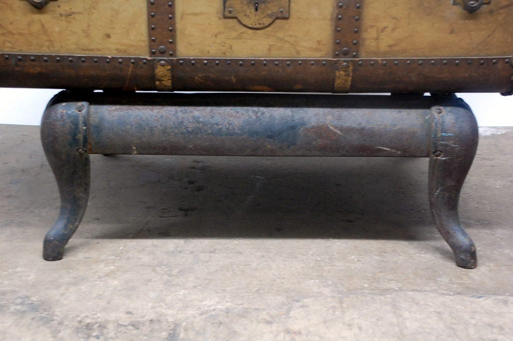 Vintage Indestructo Trunk on Industrial Stand 8
