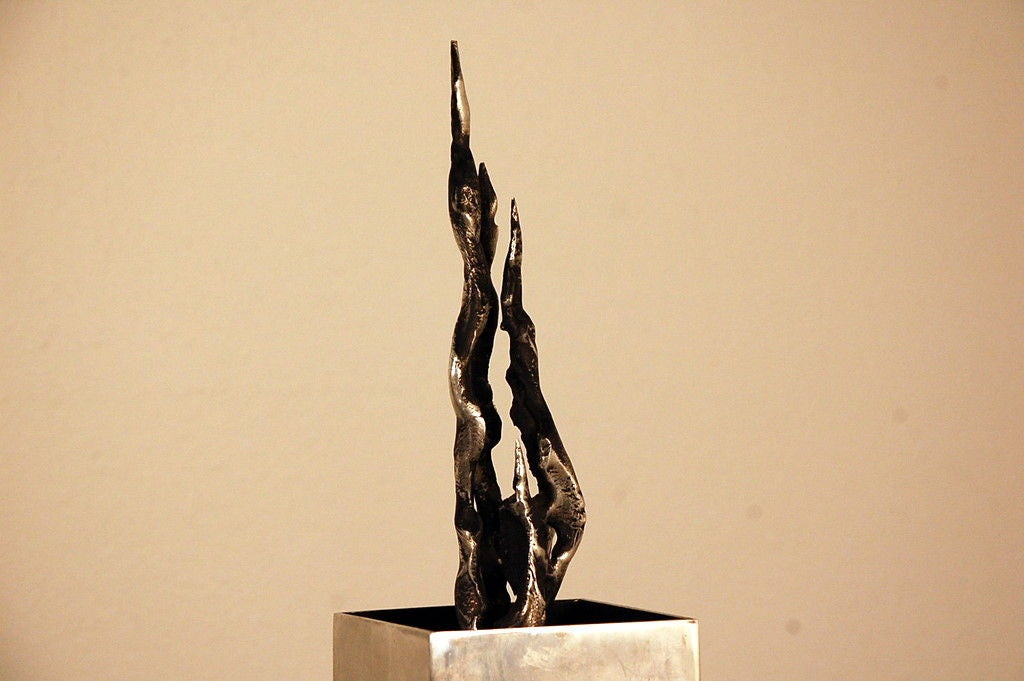 Cast Tall Brutalist Sculpture For Sale