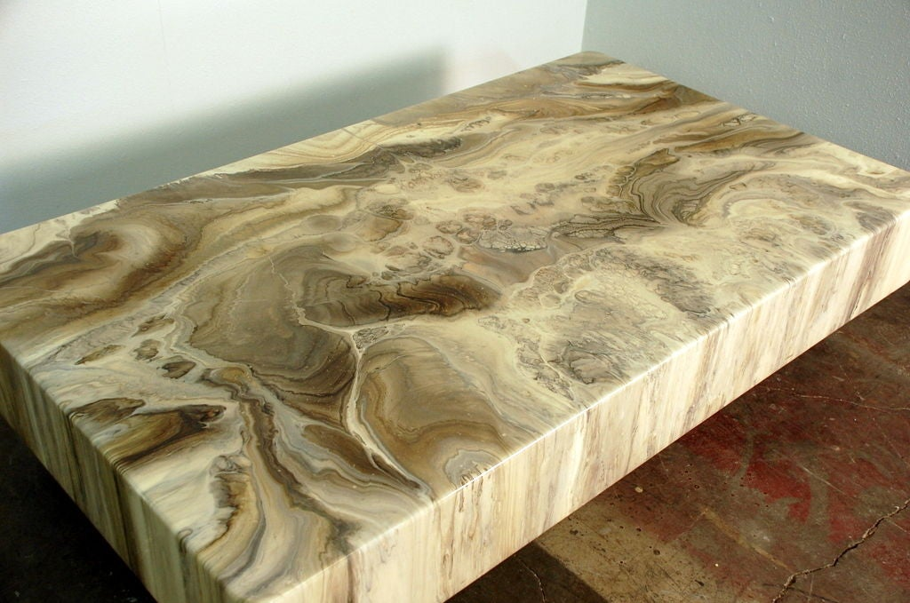 Spectacular Faux Marble Resin Coffee Table By Arthur Elrod At 1stdibs