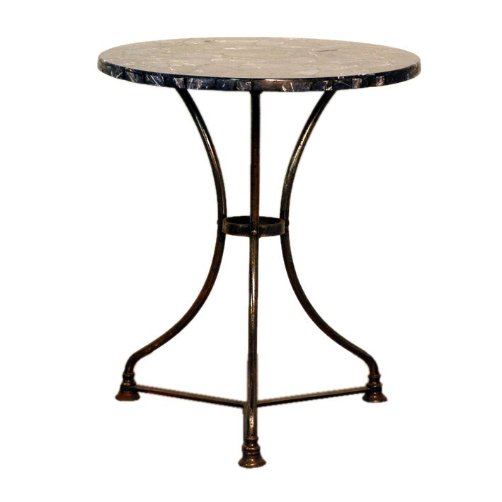 Polished Steel French Industrial Cafe Table With Blue Stone Top 1