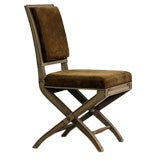 Chic gray lacquer and leather Louis XVI style folding chair