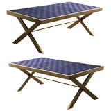 Pair of  indoor / outdoor stainless steel and canvas benches