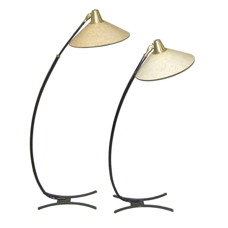 PAIR OF ARCHED RETRO FLOOR LAMPS at 1stdibs