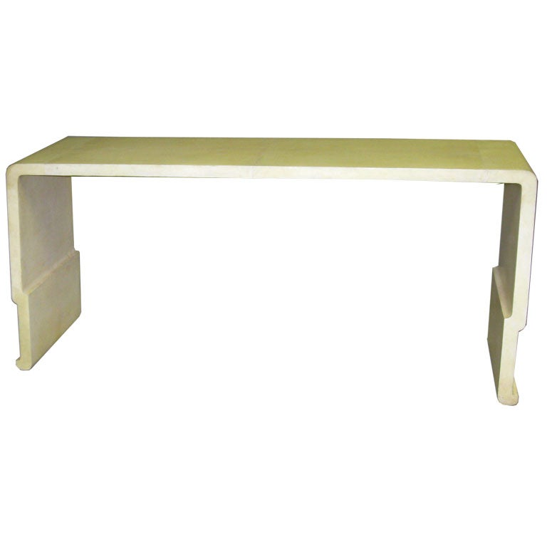 modern waterfall parchment console table at 1stdibs