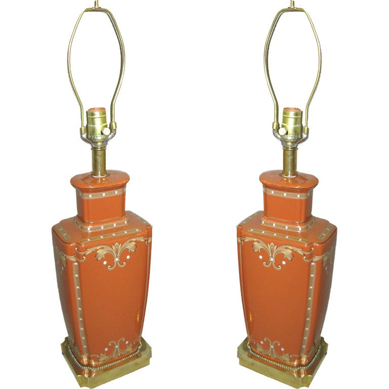 PAIR OF CERAMIC AND GOLD TABLE LAMPS For Sale