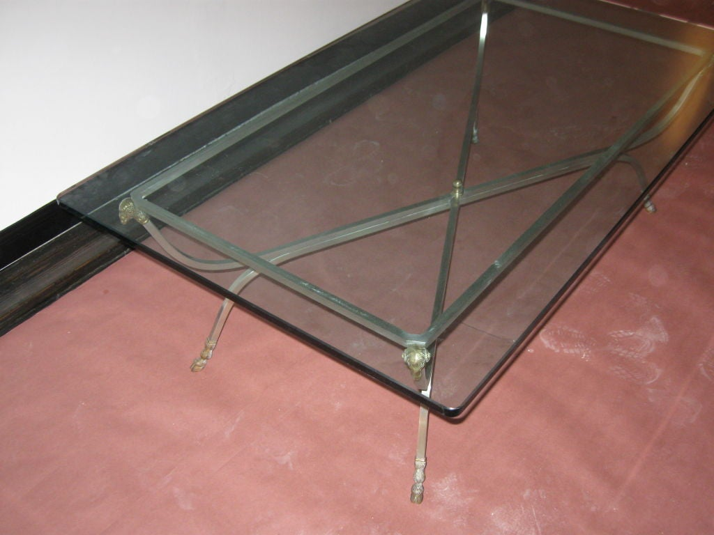 Glass And Metal Coffee Table At 1stdibs