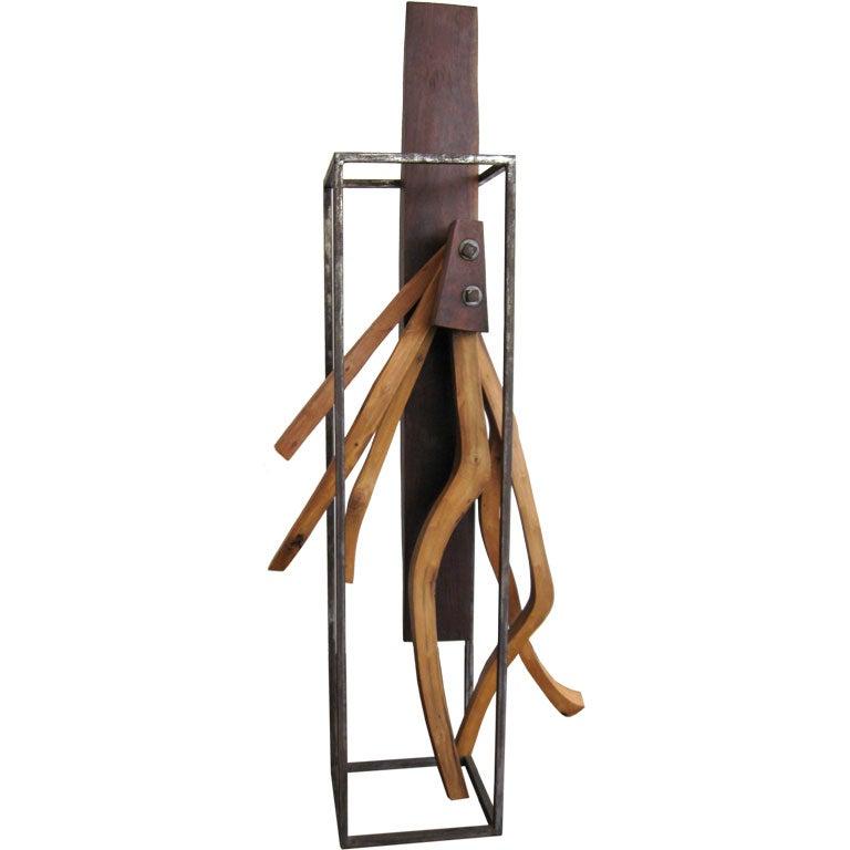 Wood and metal sculpture at stdibs