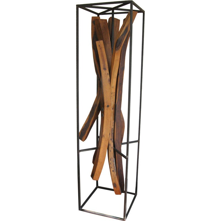 Tall wood and metal sculpture at stdibs