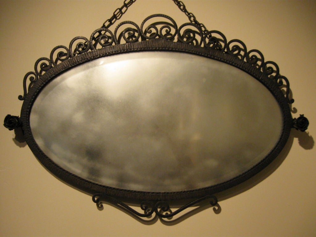 Wrought iron oval mirror at 1stdibs for Wrought iron mirror