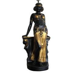 WONDERFUL CERAMIC TABLE LAMP OF  AN EGYPTIAN FEMALE