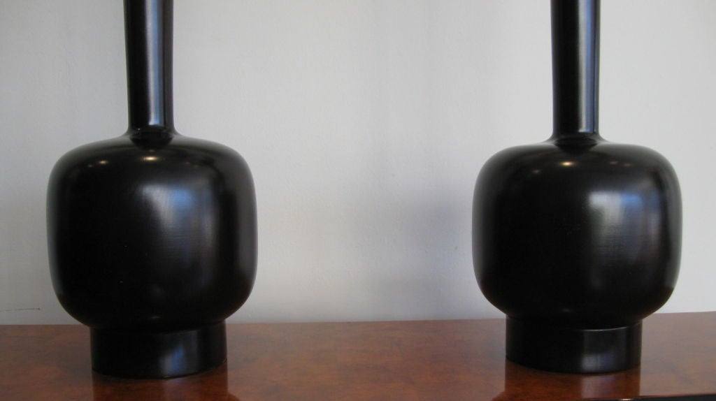 pair of tall ebonized wood table lamps at 1stdibs. Black Bedroom Furniture Sets. Home Design Ideas